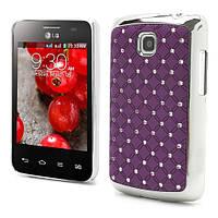 Чехол накладка Star Dust с камнями для LG Optimus L3 II E435,  фиолетовый пластик