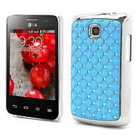 Чехол накладка Star Dust с камнями для LG Optimus L3 II E435, голубой пластик