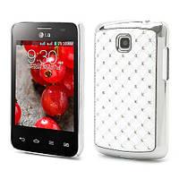 Чехол накладка Star Dust с камнями для LG Optimus L3 II E435, белый пластик
