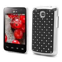Чехол накладка Star Dust с камнями для LG Optimus L3 Dual E435, черный пластик