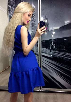 Платье коктейльное прима, электрик, фото 2