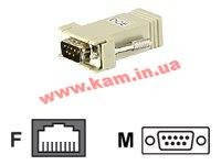 Конвертер RJ-45 (Female) to DB9 (Male), черный коннектор DTE- DCE, ALTUSEN. (SA0142)