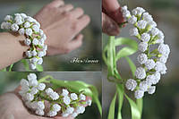 """Свадебный браслет для невесты или свидетельницы """"Сказочная гипсофила"""""""