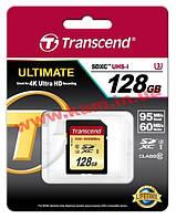 Карта памяти Transcend Ultimate SDXC 128GB Class 10 UHS-I U3 R95/ W65MB/ s (TS128GSDU3)