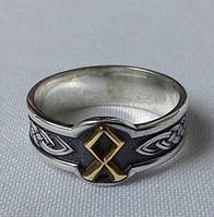Кольцо с золотой Руной Одал с черн