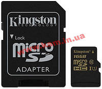 Карта памяти KINGSTON microSDHC 16 Gb Class 10 UHS-I + SD adapter (SDCA10/16GB)