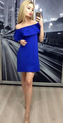 Платье женское с открытыми плечами свободного фасона ft-253 синее, фото 2