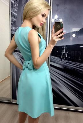 Коктейльное платье с бантиком, ментоловое, фото 2