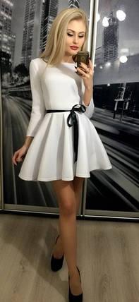 Короткое платье с рукавом 3/4 и атласной лентой ft-203 белое 44-46, фото 2