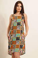 Легкий нежаркий сарафан свободного кроя из натуральной хлопковой ткани, яркий необычный принт, 42-52 размера, фото 1