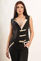 Жилет прилеглого силуету з трендової застібкою на ремені з шкірозамінника, костюмна тканина, 42-52 розміри, фото 1
