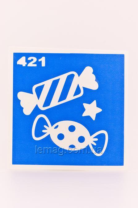 Boni Kasel Трафарет для био тату 6x6 см - 421, 1 шт