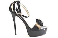 Босоножки женские Baroco черные замшевые из натуральной кожи на каблуке, женские босоножки