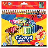 Карандаши цветные трехгранные,   24 цвета, в том числе золото, серебро + флюорисцентный желтый , очень мягкие