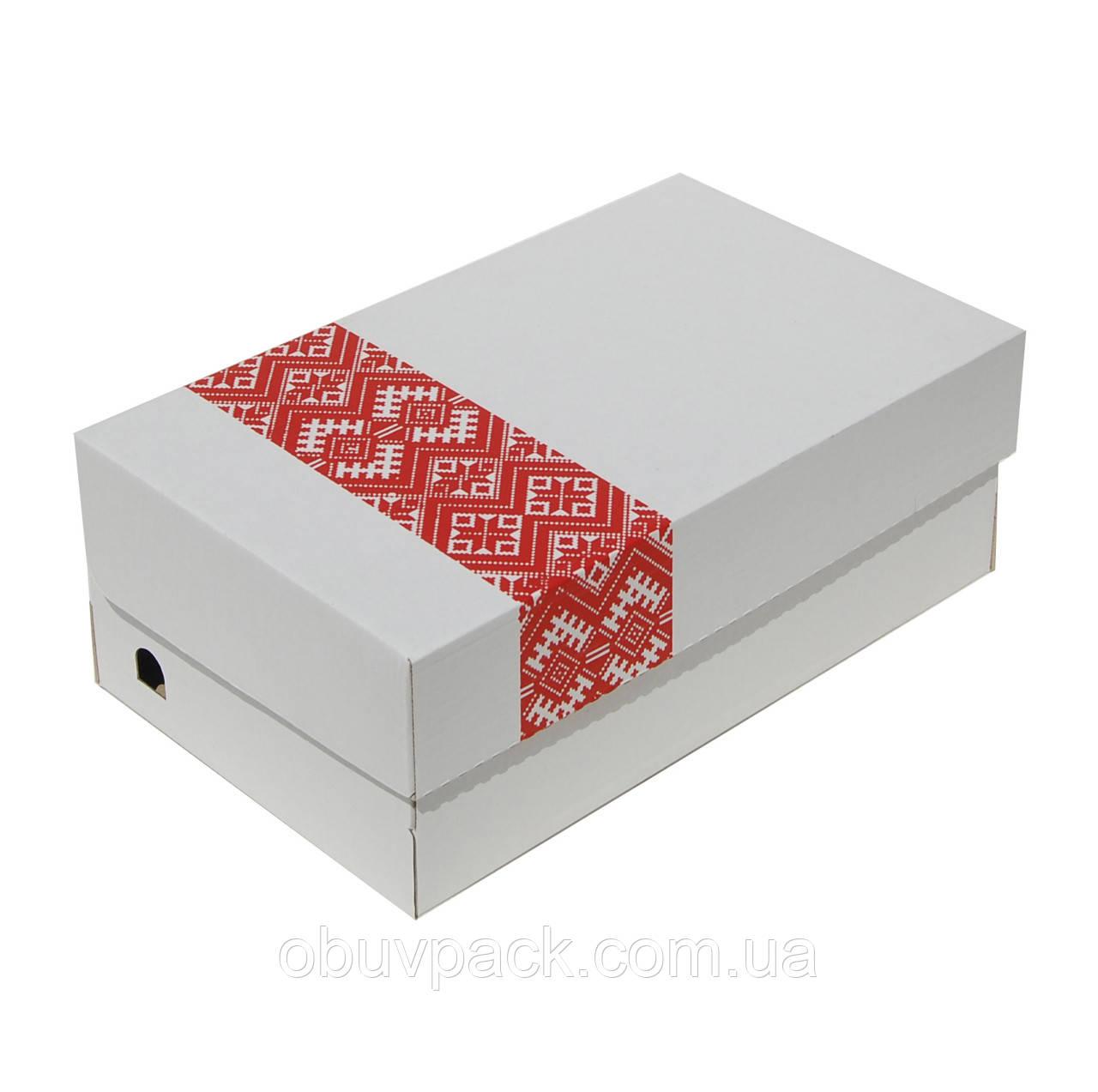 Коробка обувная белая с нанесением логотипа