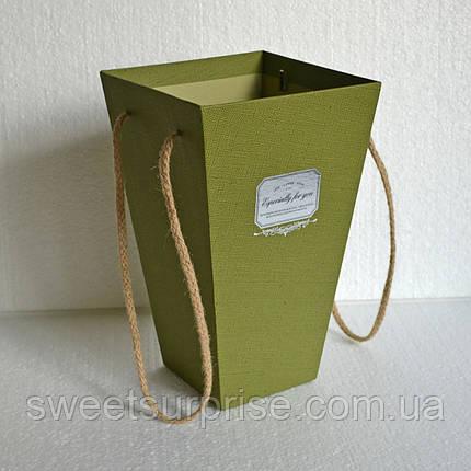Подарочная коробка для цветов (оливковый), фото 2
