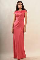 Роскошное длинное платье, кружево обрамляет плечи и полностью украшает спинку, 42-48 размеры, фото 1