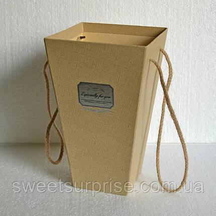 Подарочная коробка для цветов (бежевый), фото 2
