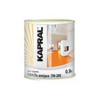Износостойкая эмаль для новых и ранее окрашенных деревянных изделий KAPRAL ПФ-266  красно-коричневая 0,9л.