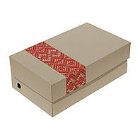 Коробка обувная бурая с нанесением логотипа, фото 1