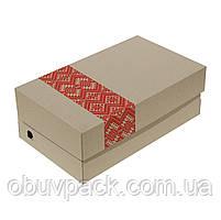 Коробка обувная бурая с нанесением логотипа