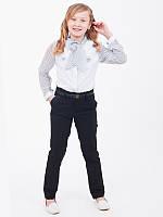 Брюки для девочки в школу Вика Брюки, Люксик, 122, темно-синий