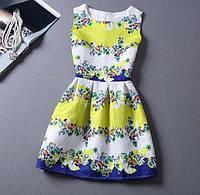 Сине-желтое платье с цветами
