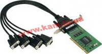 4х портовая UPCI низкопрофильная плата, с кабелем DB9M, RS-232 (CP-104UL-DB9M)