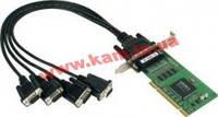 Низкопрофильный адаптер на шине Universal PCI, 4xRS-232/ 921,6кбод, Female DB44, защита (CP-104UL-T)