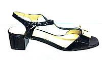Босоножки женские Canna черные лаковые из натуральной кожи без каблука, женские босоножки