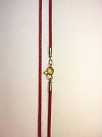 Шнурок красный с застежкой 925 пробы позолота UV-7025 №103