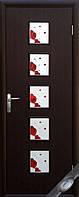 Дверь Квадра Фора Экошпон со стеклом сатин и рисунком P1 - венге 3d