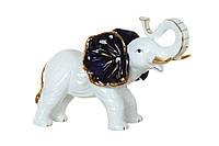 """Фигурка фарфоровая 29х19 см. """"Слон с синими ушами"""" белая, Снева"""
