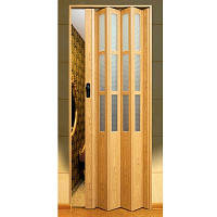 Двери-гармошка ПВХ  2030x860 мм светлый дуб стекло