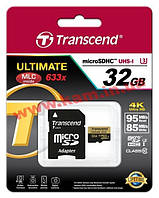 Карта памяти Transcend Ultimate microSDHC 32GB Class 10 UHS-I U3 R95/ W85MB/ s 4K Video (TS32GUSDU3)