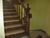 Дубовая лестница точеная, изготовление и монтаж