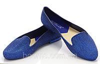 Женские балетки, лодочки туфли  ярко синего цвета со стразами