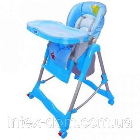 Детский стульчик для кормления на колесиках BAMBI RT-002 L-4 голубой,корзина