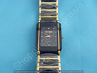 Часы Rado Jubile 114060 женские прямоугольные черная сталь с золотистыми вставками в виде ромбиков
