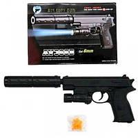 Игрушечный пистолет с пульками, свет+лазер+глушитель AV366B SR
