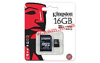 Карта памяти Kingston microSDHC 16GB Class 10 UHS-I R45/ W10MB/ s + SD адаптер (SDC10G2/16GB)