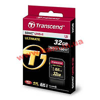 Карта памяти Transcend Ultimate SDHC 32GB Class 10 UHS-II U3 R285/ W180MB/ s 4K Video (TS32GSD2U3)