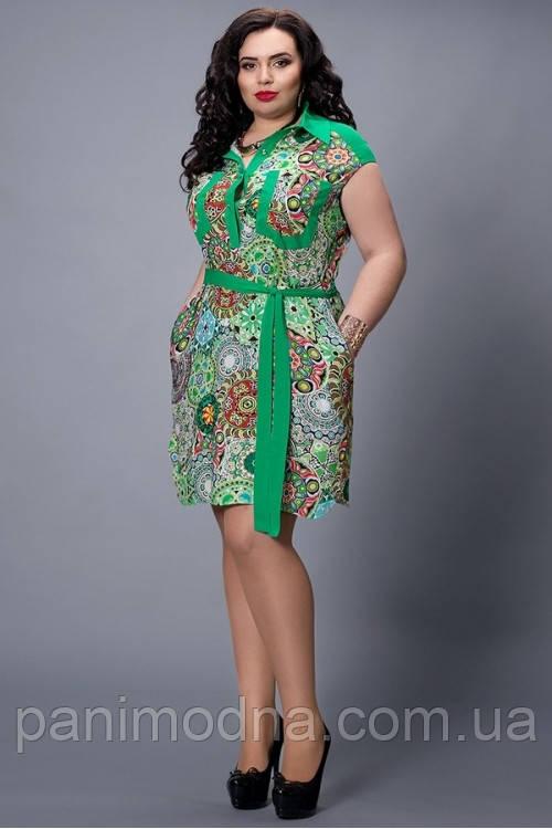 """Женское платье, декорировано принтом и поясом  - """"Елена"""" код 478"""