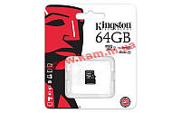 Карта памяти Kingston microSDXC 64GB Class 10 UHS-I R45/ W10MB/ s (SDC10G2/64GBSP)