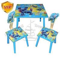 Детский Деревянный столик со стульчиками Лило и стич C 10011