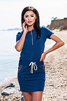 Хлопковое тёмно синее платье с карманами и затяжным поясом, батальное. Арт-5703/57