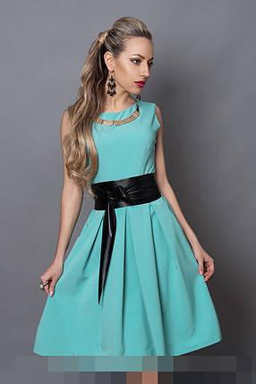 Платье мод 386-11 размер 42,44,46 голубая бирюза, фото 2