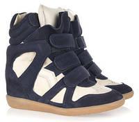 Кроссовки на платформе Isabel marant темно-синие с белым