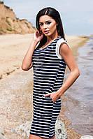 Короткое хлопковое платье в тёмно синюю полоску с принтом и кармашиками, батальное. Арт-5707/57