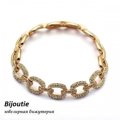 Браслет ЦЕПОЧКА SHINE ювелирная бижутерия золото 18К декор кристаллы Swarovski